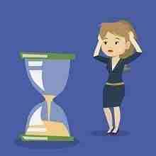 Eine weibliche Cartoon Figur blickt fragend auf ein Stundenglas