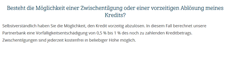 Screenshot aus den FAQ für den auxmoney Kredit