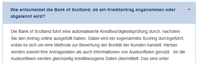 Bank of Scotland Auszug aus den FAQ