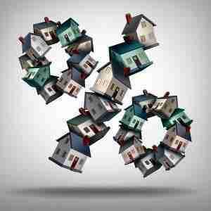 Kleine Häuser bilden ein % Symbol