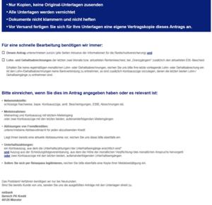Checkliste für Netbank Kredite