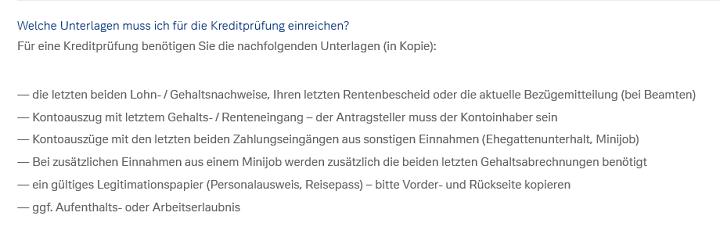 Screenshot der Checkliste für den Deutsche Bank Autokredit