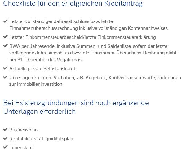 Screenshot der Checkliste für den Geschäftskredit der Deutschen Bank