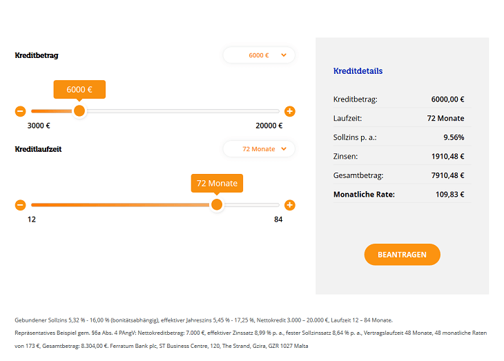 Screenshot vom Ferratum Kreditrechner