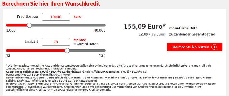 Screenshot des Kreditrechners für den S Kredit per Klick