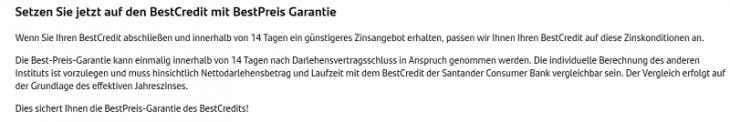 Screenshot von der Santander Bestpreisgarantie