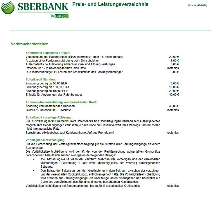 Screenshot aus dem Sberbank Kredit Preisverzeichnis