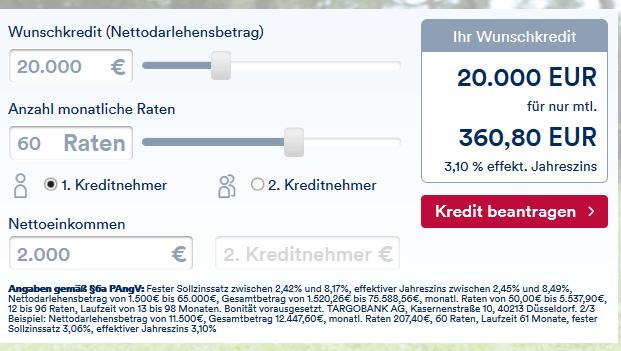 Screenshot-Ratenkredit-Targobank – Kredit
