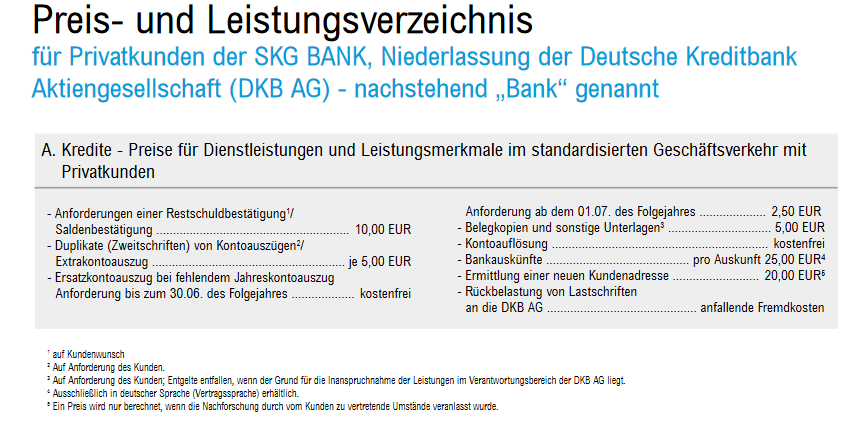 Screenshot aus dem SKG Bank Preisverzeichnis