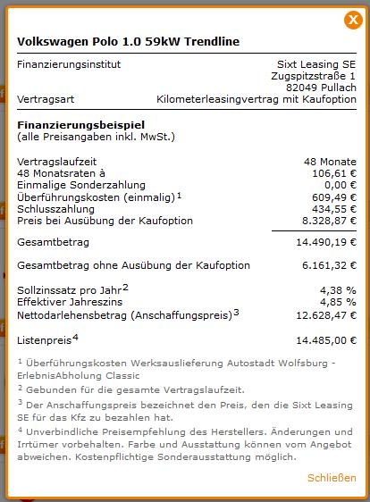 Screenshot Sixt Vario-Finanzierung