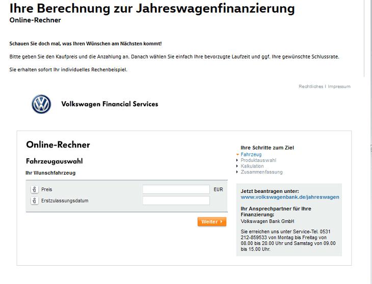 Screenshot des Volkswagen Bank Formulars zur Jahreswagenfinanzierung