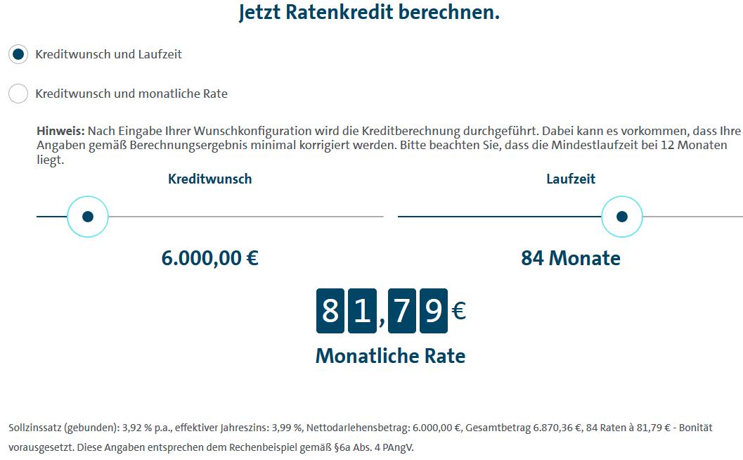 Screenshot vom Volkswagen Bank Kreditrechner